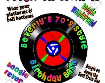 45 record 70's party invitation, 70's party invitation, 80's party invitation, 45 record 80's party invitation, 8.5 x 11 70's party invite