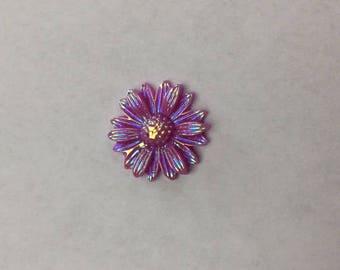 Purple Iridescent Flower Locket Plate