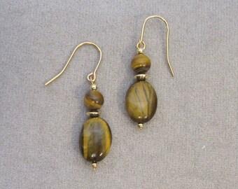Oval Tiger Eye Earrings - g0084e42