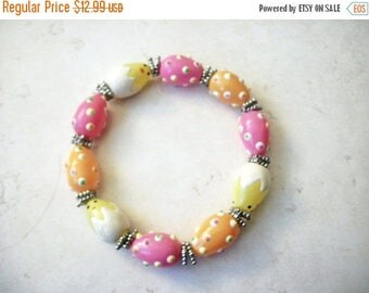 ON SALE Vintage 1950s Hand Made Lamp Work Italian Murano Glass Easter Chicks Eggs Bracet 30217