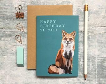 Fox Birthday Card - Fox Card - Birthday Card - Animal Card - Woodland Animal - Fox Greeting Card - Cute Fox Card - Fox