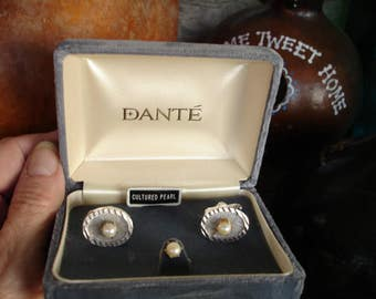 Vintage Pearl silvertone cufflinks and tie tac set,Dante set of cufflinks and tie tac, pearl cufflinks set,boxed cufflinks pearl set