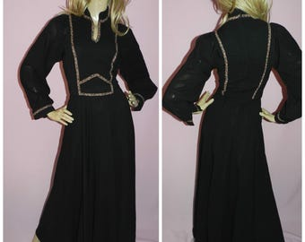 Vintage 70s BOHEMIAN Hippy Black FLORAL Contrast Maxi GODDESS dress 8-10 1970s Festival Woodstock Hippie Pure wool