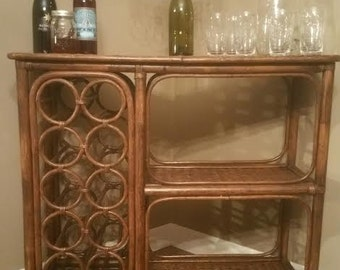 vintage rattan bar wicker bar rattan bar vintage bar mid century bar - Wine Rack Table