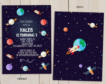 planet birthday invitation, outer space theme birthday invitation, kids birthday invite, boy birthday, Boy Space Party, Astronaut invitation