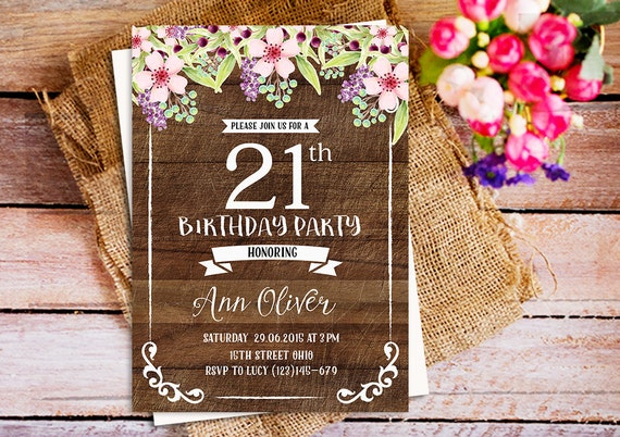 Rustic 21st birthday invitations pink floral rustic wood 21st rustic 21st birthday invitations pink floral rustic wood 21st party invites country 21st birthday invitation wood vintage birthday stopboris Image collections
