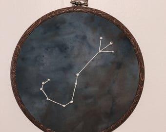 Scorpio Constellation Hand Embroidered Wall Hanging * Astrology Constellation *