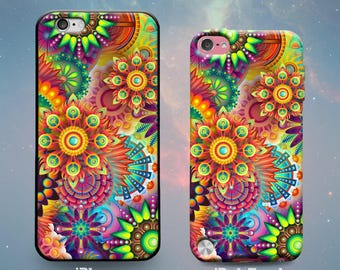 Abstract Vector Art Psychedelic Trippy 60s Cool Fun Slim Rubber Case Cover Skin for iPhone 5 5s 5c SE 6 6s 7 Plus or iPod Touch 6th 5th Gen