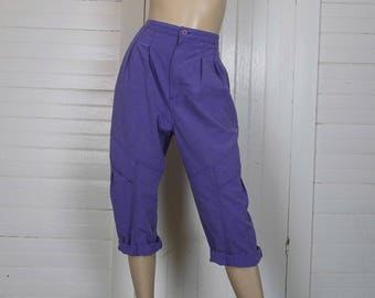 80s Lavender Capri Pants by Gitano- 1980s High Waist Pleated Cargo Pants- Purple- New Wave Khakis- Medium