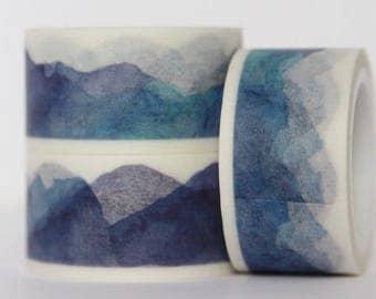 Washi tape mountains watercolor