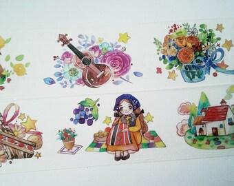 Design Washi tape fairy tale girl flowers
