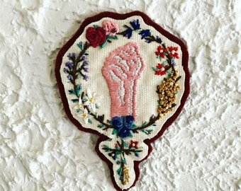 Hand Embroidered Second Wave Feminist Floral Patch (NO-FILL BACKGROUND)