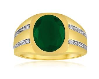 Emerald Ring, Gold Emerald Signet Ring, 10K Yellow Gold Ring, Men's Emerald Ring, Oval Gemstone Ring, May Birthstone Ring, Bezel Gold Ring