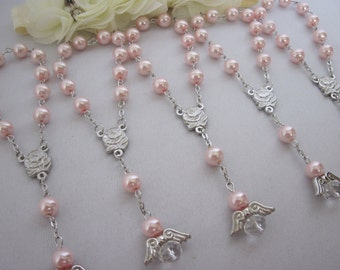 30 High Quality Girl Pink Pearl Rose Mini Angel Rosary Favors for Baptism Christening, Communion, Single Decade, Pocket Rosary Gift