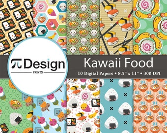 "Kawaii Food 8.5""x11"" Digital Paper 10 Pack 