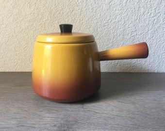 West German Enamel Saucepan, Flame Yellow burnt orange, vintage fondue