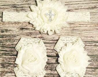 Baby Headband / Baby Girl Headband / Baptism Headband / Christening Headband / Cream / Ivory / Rhinestone Cross / Cross Headband / Sandals