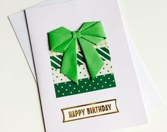 Birthday Card | Present | Green | Polka Dots | Origami | Bow