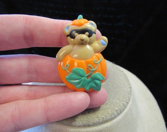 Vintage Halloween Raccoon In A Pumpkin Pin