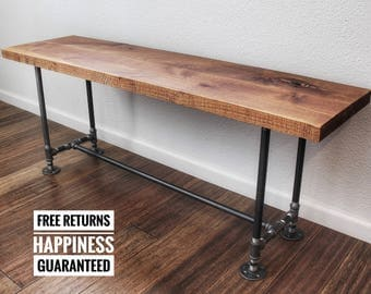 Rustic industrial bench ⋆ solid wood bench ⋆ rustic bench ⋆ entryway bench ⋆ pipe bench ⋆ dining room bench ⋆industrial ⋆ wooden bench
