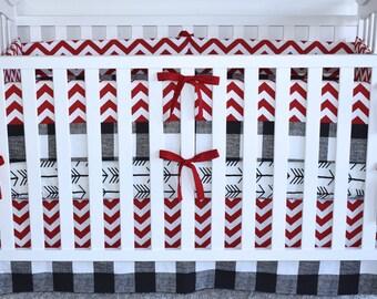 3 PIECE SET - crib bedding,  modern nursery, red and black, buffalo print, crib skirt, crib sheet, crib bumpers