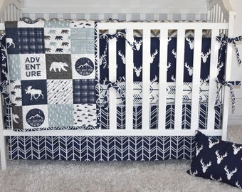 Moose Adventure Crib Bedding, modern nursery, modern quilt, woodland, boy nursery, hunting, indigo, spa blue, charcoal, minky quilt