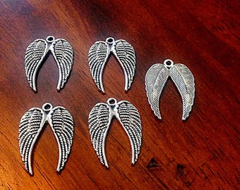 10pcs, Wing Charms, Angel Wing Pendants, Antique Silver Charms, Double Wings, Christian Charms, Findings, Jewelry and Craft Supplies