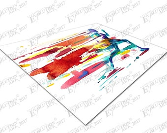Print on Canvas Watercolour Running Man Color Blur X1553