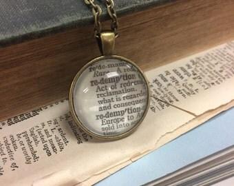 REDEMPTION Vintage Dictionary Word Pendant