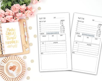 Day on one page - DO1P - printable planner insert - Filofax personal - Kikki K Medium - print at home - planner refill - undated inserts