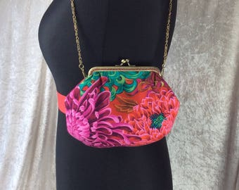 Alice Chrysanthemum frame bag Kaffe Fassett fabric small Frame handbag purse makeup bag handmade in England
