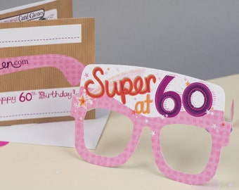 60th Birthday Card Glasses for her. Birthday card for her. Funny birthday card. Milestone birthday. Fun birthday card. Free UK delivery.