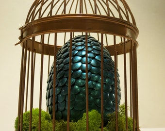 Extra Large Turquoise Egg in a Copper Cage