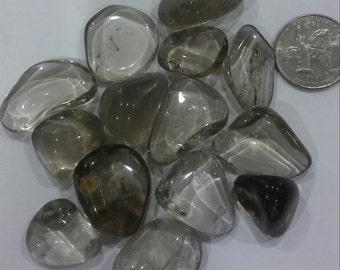 SMOKY QUARTZ Set of 4 Four Tumbled Stones Gemstones Grounding Crystals Smokey Quartz ASCENSION888
