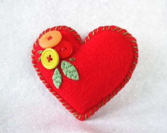 Felt Love Heart with Button Flowers