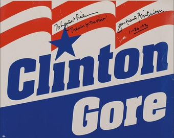 Aa5 Bill Clinton Al Gore Campaign Poster Signed Photo Reprint Matted / Unmatted
