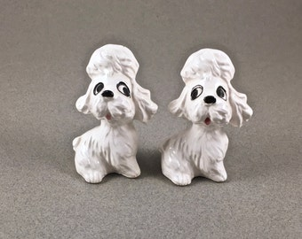 Salt & Pepper Shakers, Vintage French Poodle, White Dog, Made in Japan, Mid Century, Gift for Her, 1950s Kitchen Decor