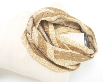 Handwoven Infinity Scarf Wool Infinity Scarf Hand Woven Circle Scarf Handwoven Collar Handwoven Wrap Handwoven Wool Scarf Beige Woven Scarf