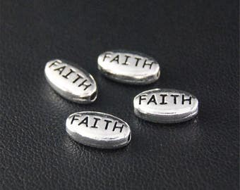 30pcs Antique Silver Faith Oval Spacer Beads Charms Pendant A2108