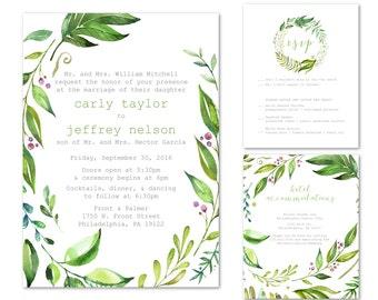 Printable Wedding Invitations, Nature Wedding Invitations, Green Wedding Invitations, Simple Wedding Invitations, Customized Invitations