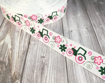 """Green tractor ribbon - 7/8"""" grosgrain - 3 or 5 yard lot - Green and pink - Tractor girl - DIY tractor hair bow - Crafting supplies"""