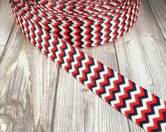Patriotic chevron ribbon - 4th of July ribbon - Red white blue - Americana ribbon - 3 or 5 yards - Military ribbon - I love USA - Grosgrain