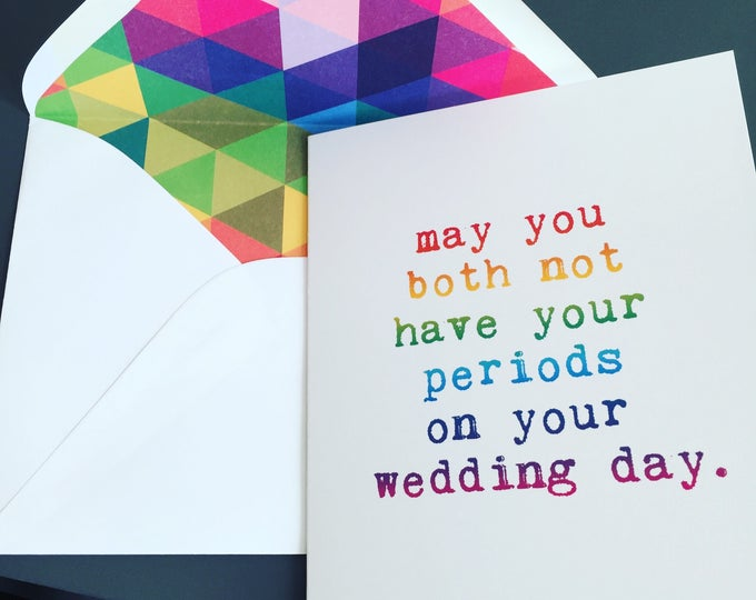 Featured listing image: Lesbian Wedding, May You Both Not Have Your Periods On Your Wedding Day, RAINBOW, Lesbian Card, LGBT Wedding, Gay Wedding, LGBTQ