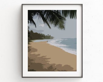 Beach Art, Palm Tree Art, Beach Decor, Ocean Art, Beach Wall Art, Beach Art Print, Beach Wall Decor, Coastal Decor, Nautical Decor, Ocean