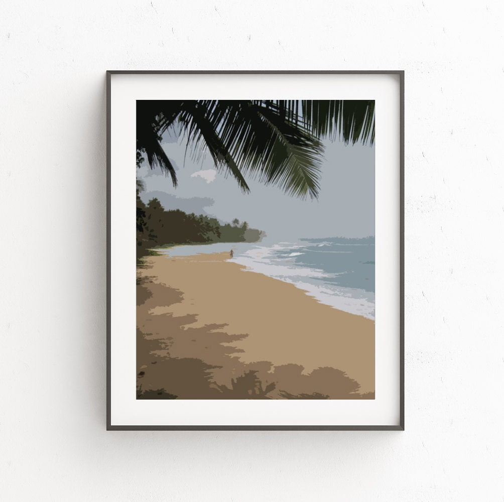 Beach Ocean Wall Decor : Beach art palm tree decor ocean wall