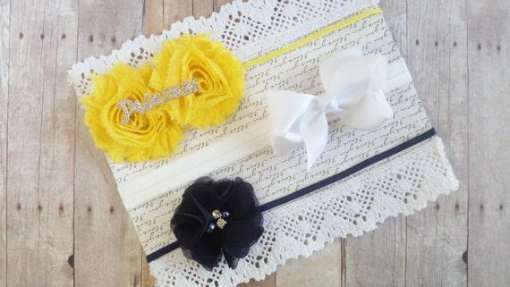 Baby Girl Headband Bows, Mini Bow Headband Set, Girl Headband Baby, White Bow Headband, Navy Blue Headband, Yellow Headband Baby, Hair Bows
