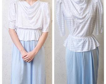 Vintage 1970s Dress Proffesional, Peplum Ruffle Blouse Dress, Puff Sleeve9 to 5, Retro Syle, Business Attire, Peplum