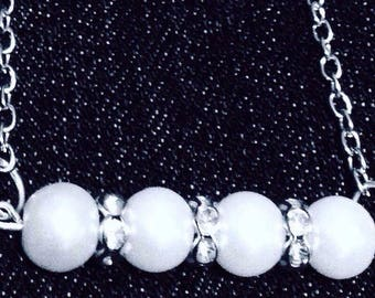 Two stranded pearl and crystal necklace