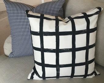Windowpane Plaid Pillow Cover, Black and White Pillow Cover, Throw Pillow, Windowpane Print Linen, Plaid Pillow Cover, Check Print
