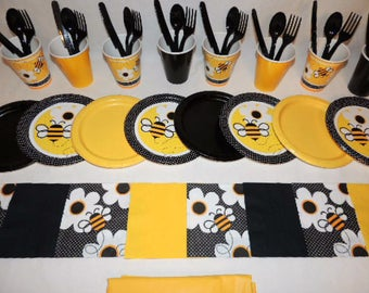 49 Piece Bumble Bee Yellow And Black Place Settings Table Decorations Party Supplies